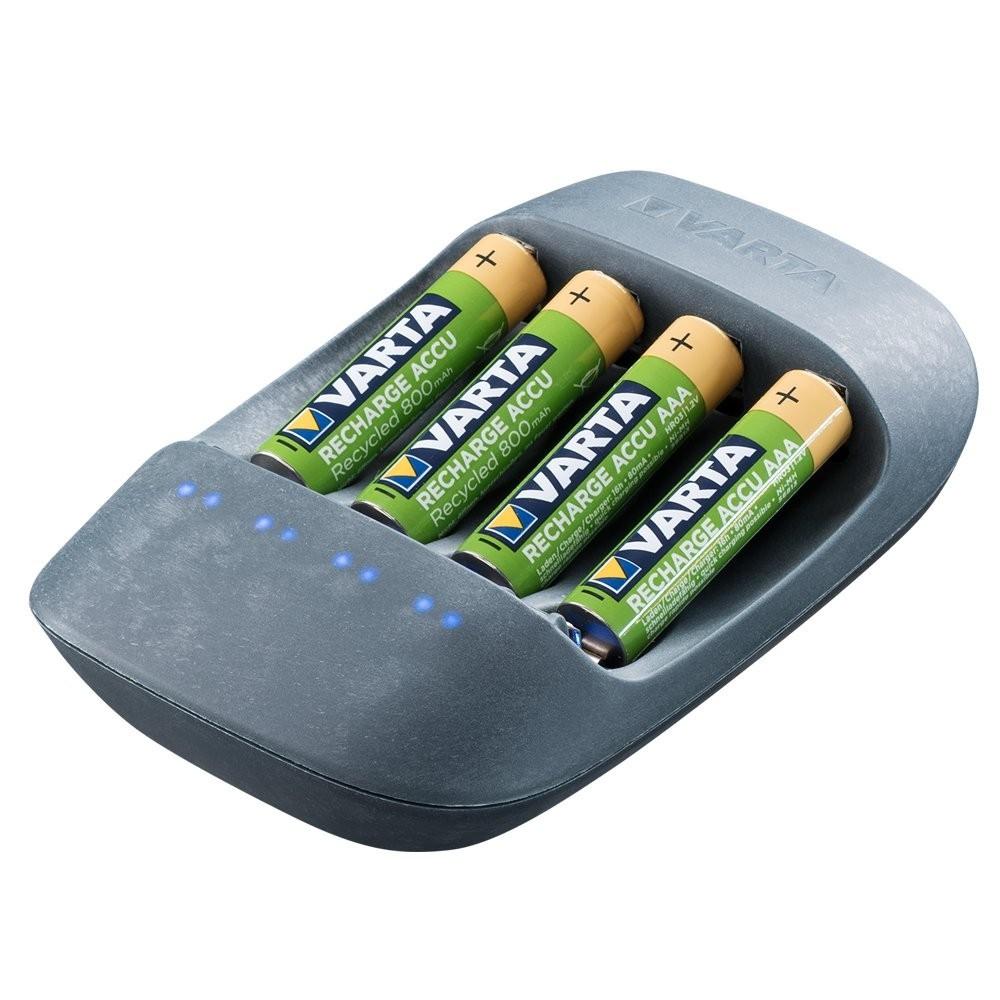 Varta - Cargador Para 4 Pilas Ni-MH AA/AAA, 50% Bioplástico (+4xAAA 800 MAh