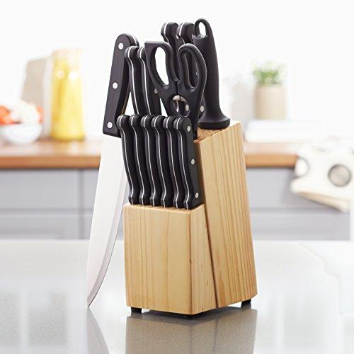 Juego de cuchillos de cocina y soporte (14 piezas) AmazonBasics