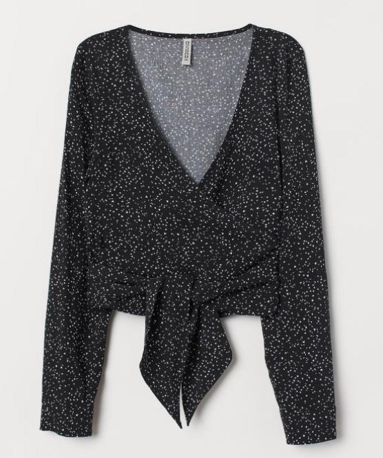 Blusa cruzada con escote en V de H&M