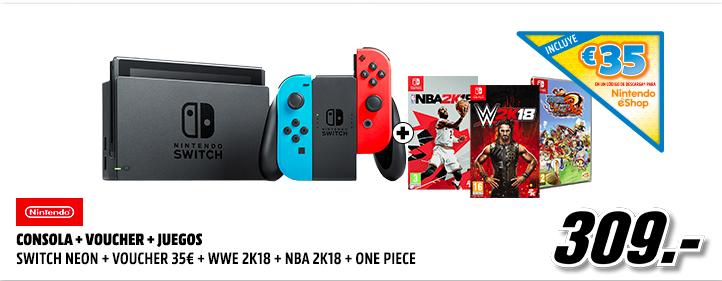 Nintendo Switch + 35€ en eShop + 3 juegos