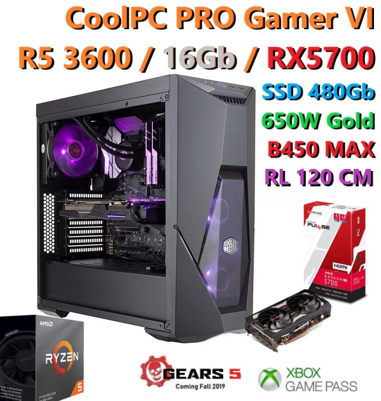 CoolPC - R5 3600, RX 5700, 16Gb 3200Mhz, 480Gb SSD, 650W Gold + 2 Juegos