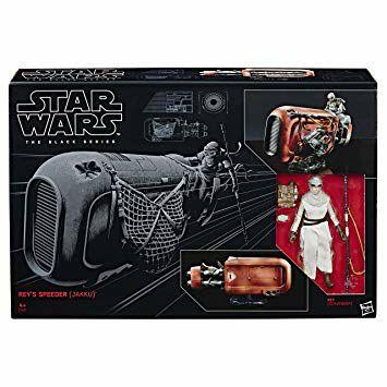 Figura black series star wars de Rey con su speeder en Jakku