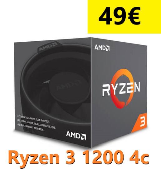 Ryzen 3 1200 4 Cores 3,40Ghz 8Mb AM4 + Ventilador
