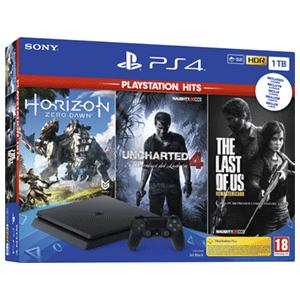 PS4 Slim 1 TB + Horizon Zero Down + The Last Of Us Remastered + Uncharted 4