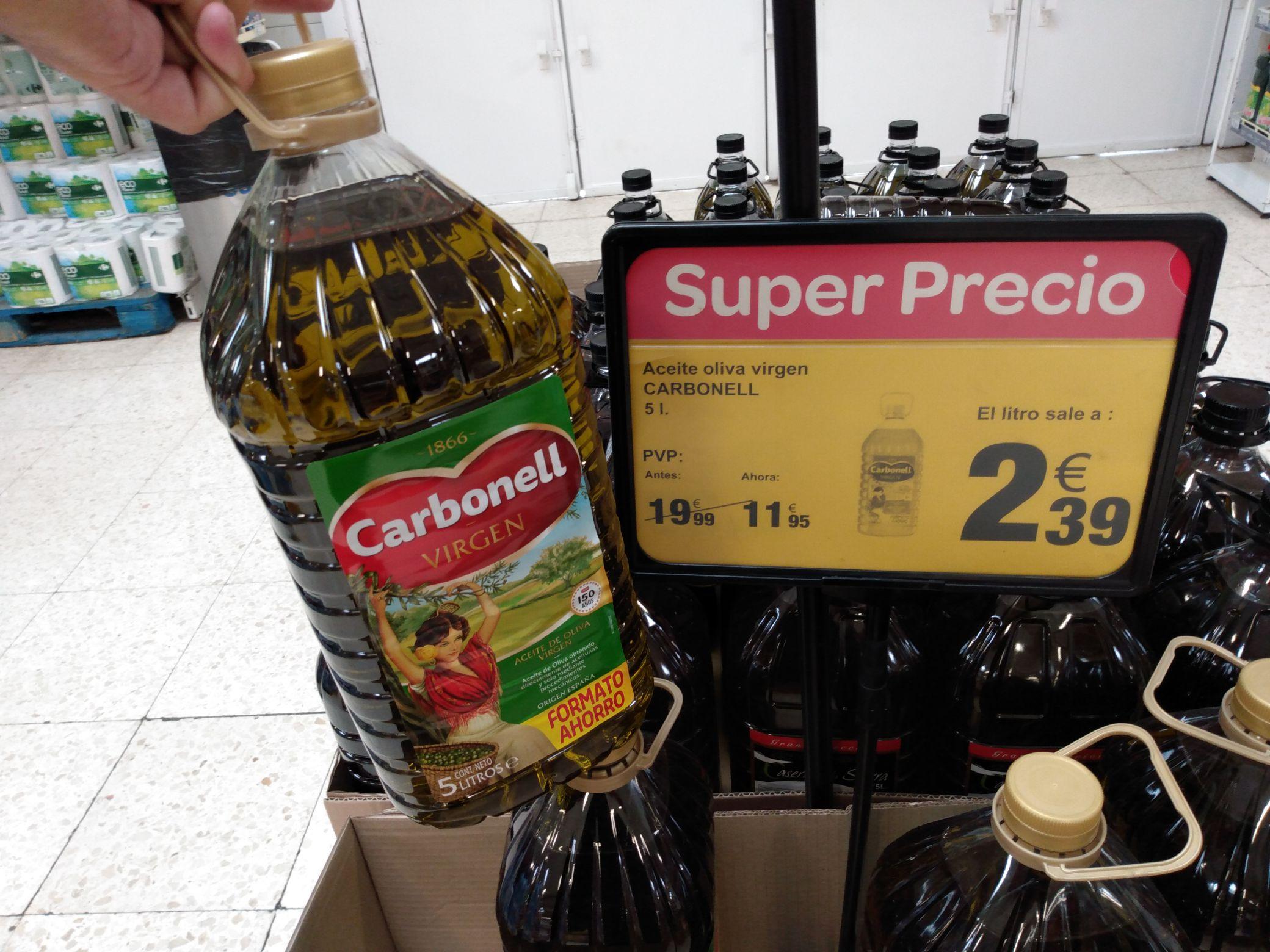 Garrafa 5 litro de aceite de oliva virgen Carbonell en Carrefour Castellón a 11,95€