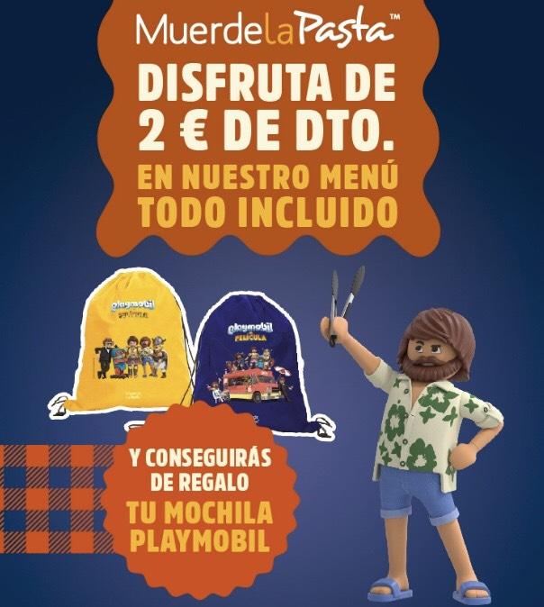 2€ de dto. en Muerde la Pasta + Regalo de Mochila Playmobil