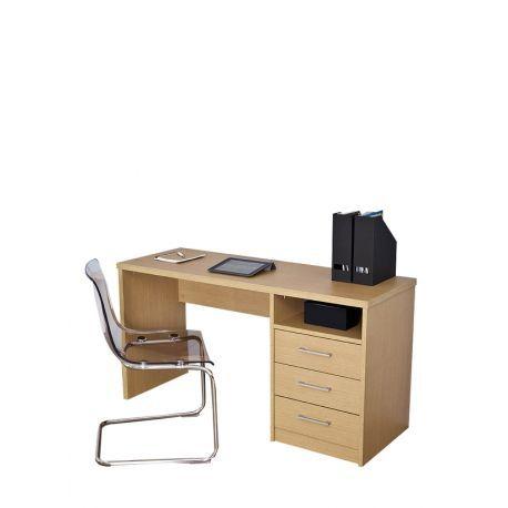 Mesa de escritorio color roble ancho 140cm con 3 cajones en oferta