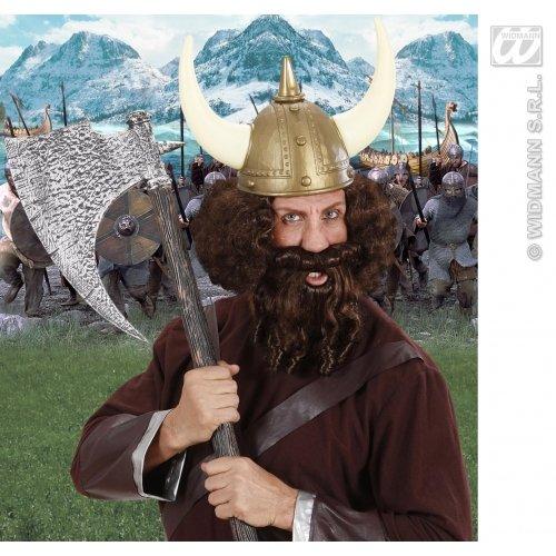 Peluca y barba con tirabuzones caratteriali castaño