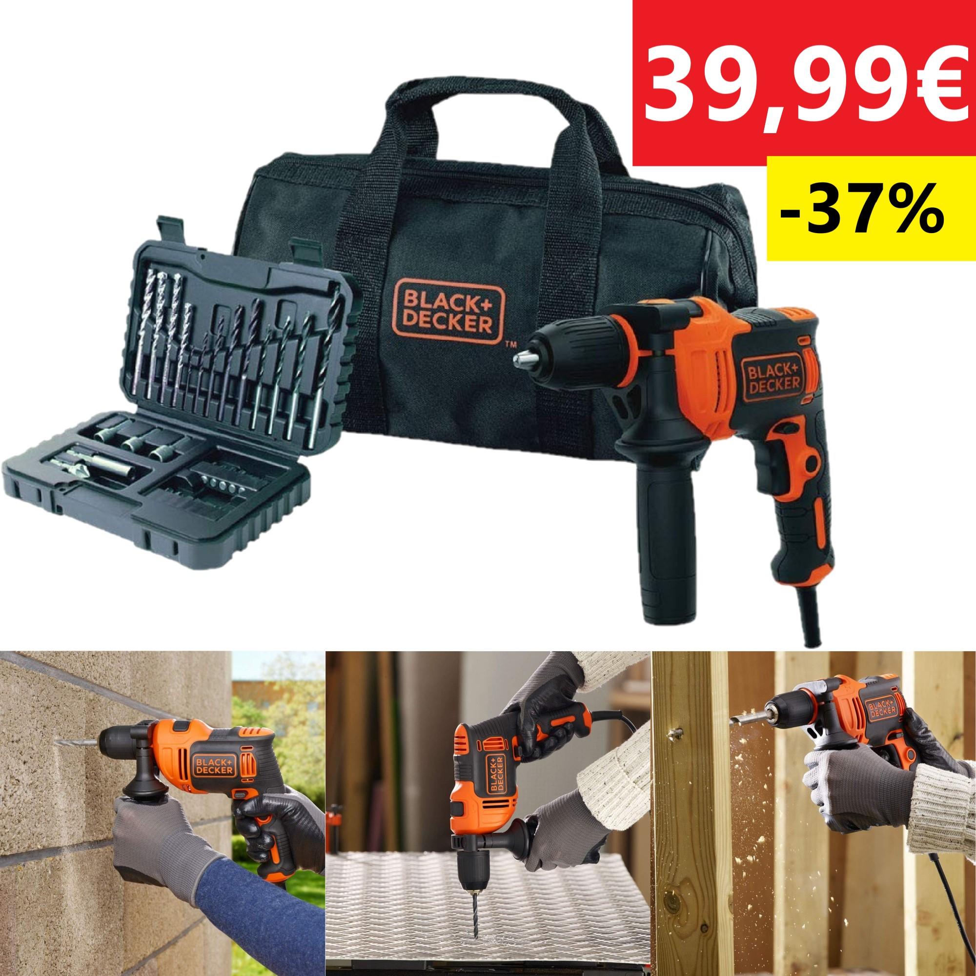 Black+Decker BEH710SA32Q-QS Taladro Percutor 710W 2800RPM Negro/Naranja Reacondicionado