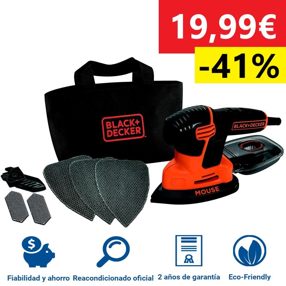 Black+Decker BEW230BCQ-QS Lijadora De Ratón 55W 1100RPM Negro/Naranja Reacondicionado