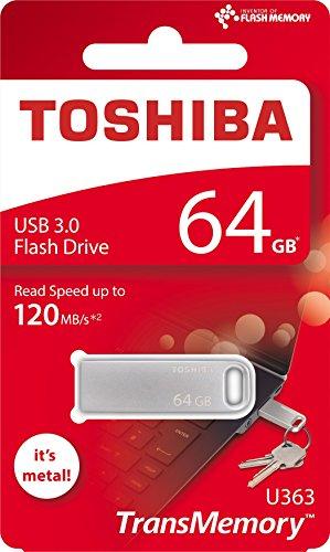 Memoria Flash USB 3.0 TOSHIBA de 64 GB, Metálico - Color Plata