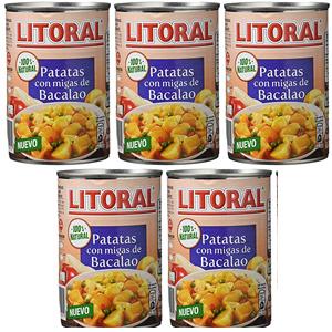 Litoral - Patatas con Migas de Bacalao - Pack de 5 x 420 g (plus)