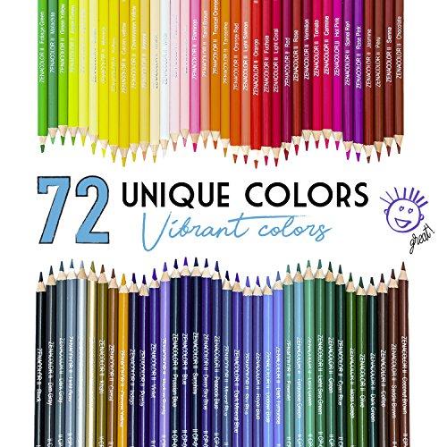 72 lápices de colores numerados con caja de metal de Zenacolor