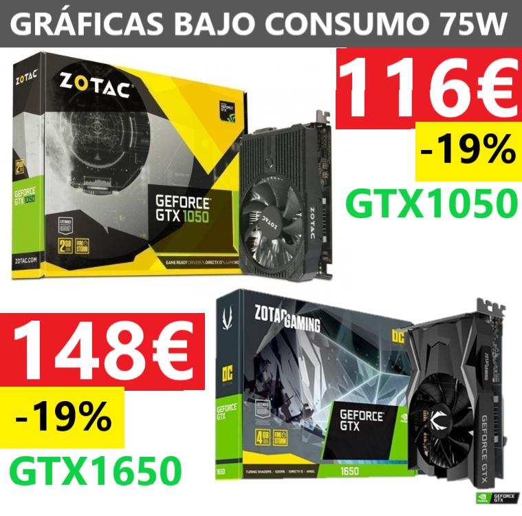 SELECCIÓN GRÁFICA GTX BAJO CONSUMO 75W. MENOS DE 150€
