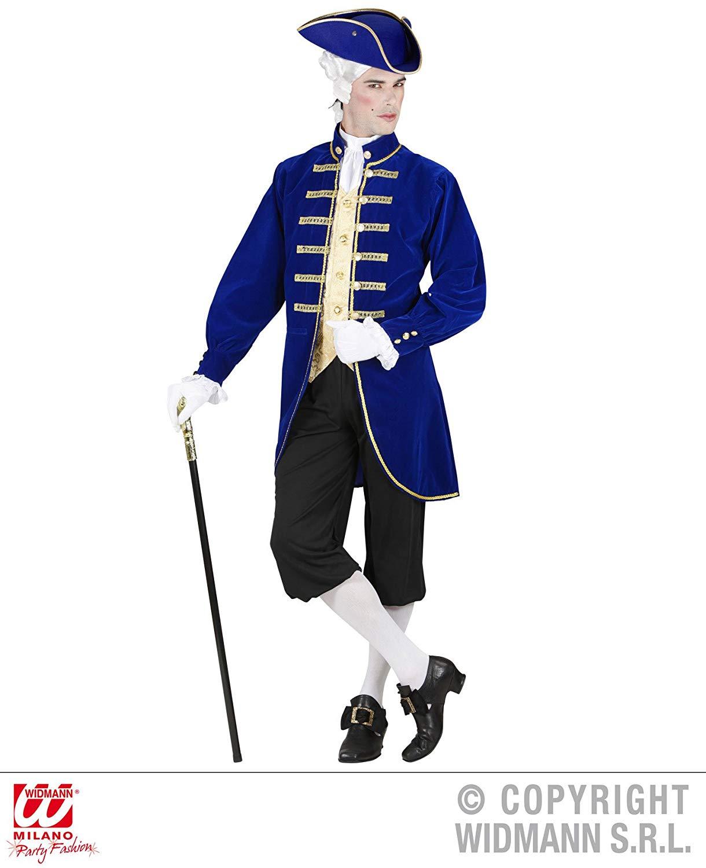 Disfraz de nobiluomo veneciano adulto hombre azul y negro