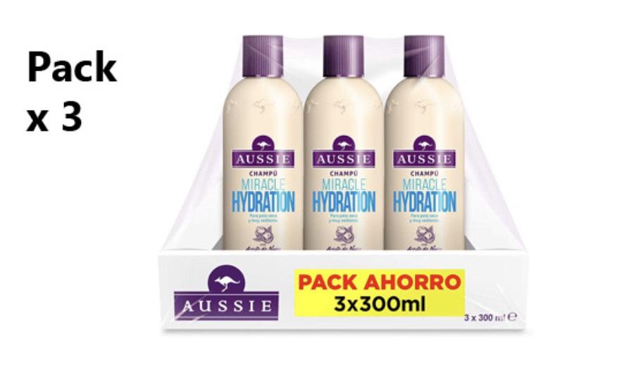 Aussie Miracle Hydration - Champú para Pelo Muy Seco 3 x 300 ml