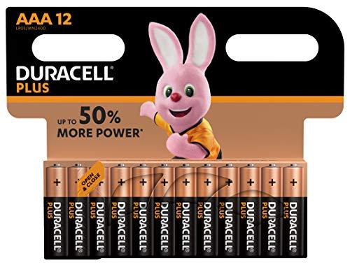 Pack de 12 pilas Alcalinas AAA Duracell Plus AAA por 7,99 €