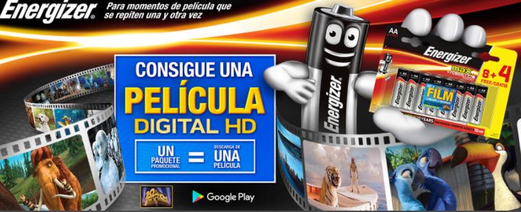 Consigue una pelicula Digital HD con un paquete de pilas Energizer