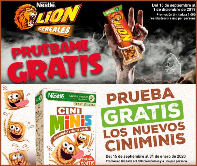 Reembolso  3.000 Prueba gratis de los cereales Integrales Ciniminis y 1.000 prueba gratis de las barritas Lion.