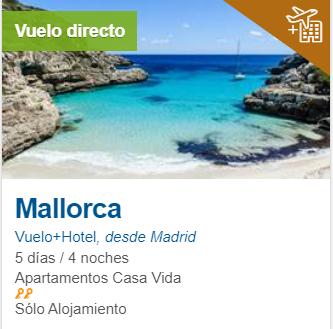 Noviembre 5 días en Mallorca 150€/p= alojamiento + vuelos desde Madrid