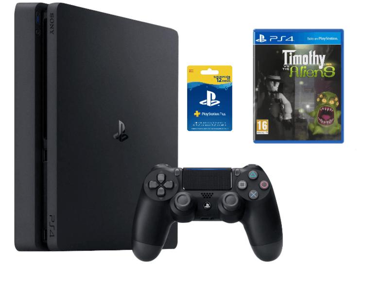 PS4 Slim de 1 TB + Tarjeta suscripción 12 meses + Timothy vs the Aliens