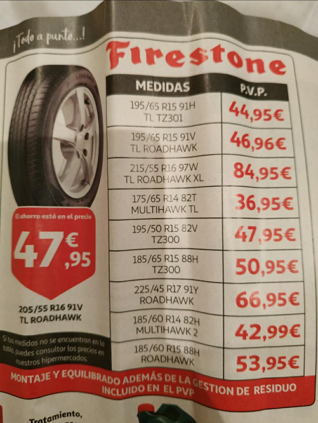Neumáticos Firestone de oferta - Alcampo