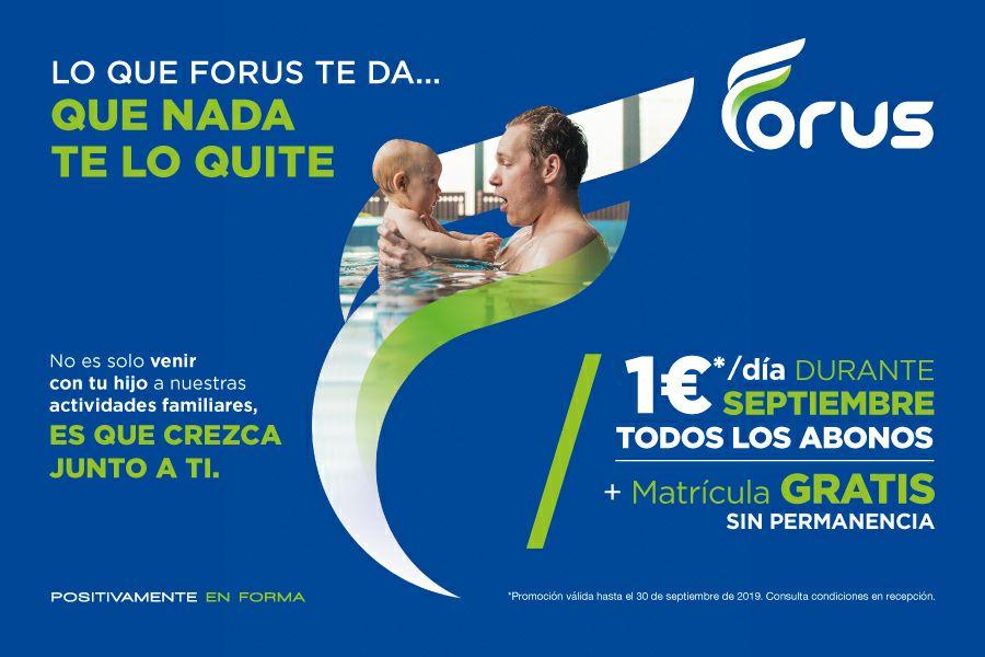 Centro Deportivo Forus 1€ al día durante septiembre + matrícula gratis sin permanencia