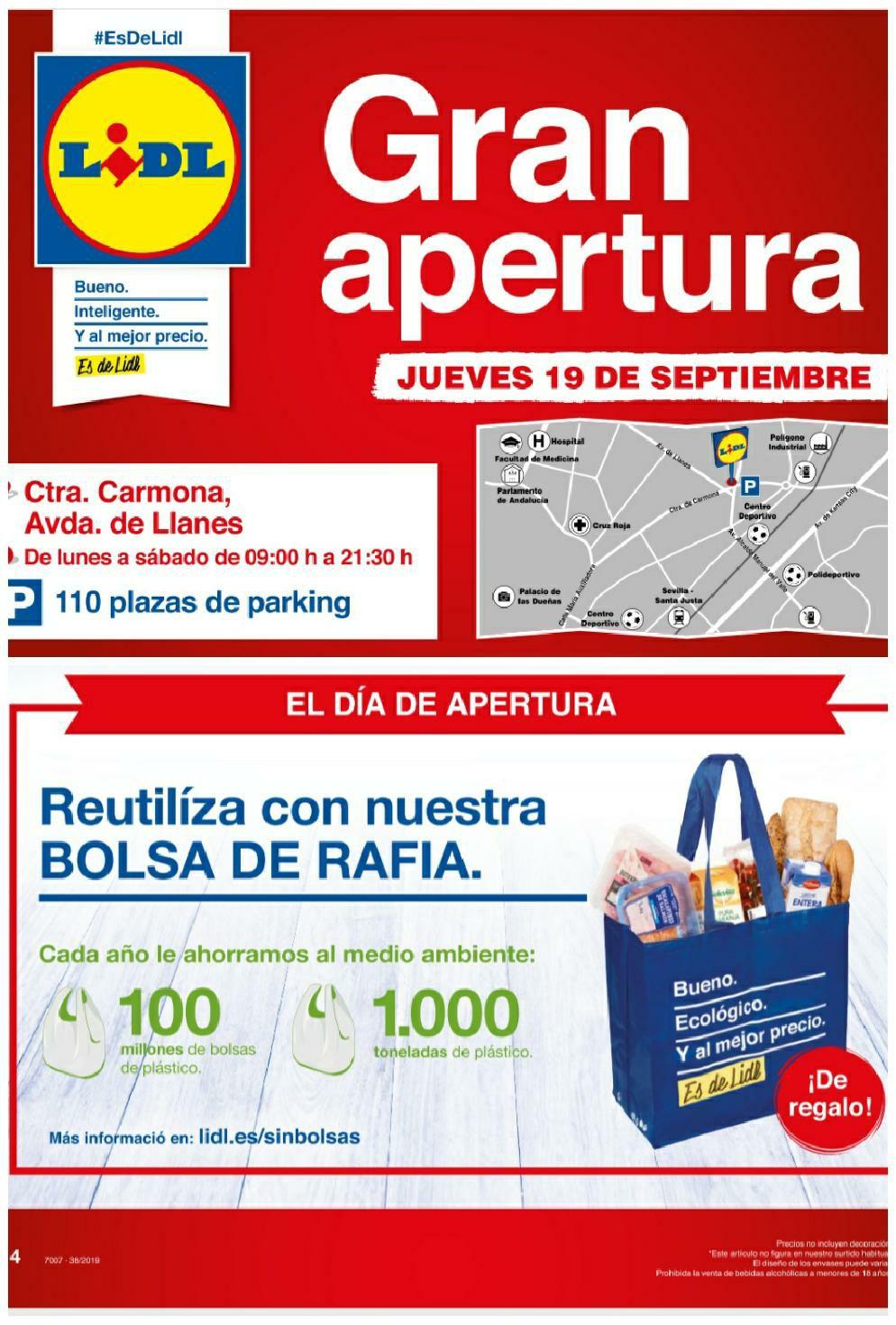 Bolsa rafia GRATIS y degustaciones en Lidl Ctra. De Carmona de Sevilla (inauguración)