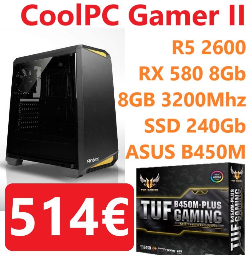 CoolPC Gamer II - R5 2600 / RX 580 8Gb / 8GB DDR4 3200Mhz / SSD 240Gb / ASUS TUF B450M