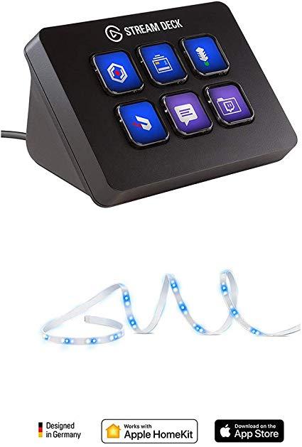 Corsair Stream Deck Mini + Eve Light Strip - Streaming en Directo e iluminación Kit, 6 Teclas LCD Personalizables