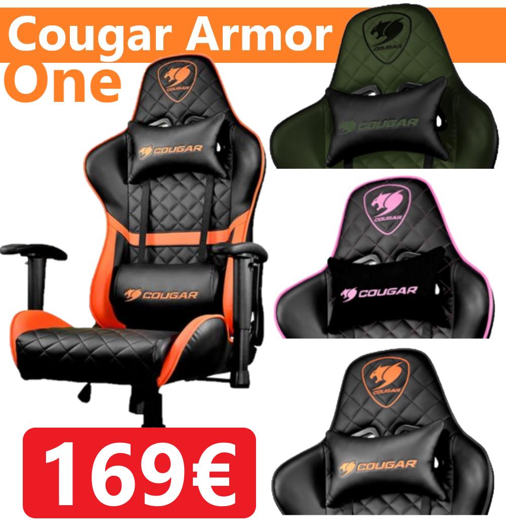 Silla Gaming Cougar Armor One - Cabeza y almohada lumbar. 4 Modelos distintos.
