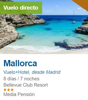 OCTUBRE Mallorca 170€/p = 7 noches en hotel 3* + vuelos desde Madrid
