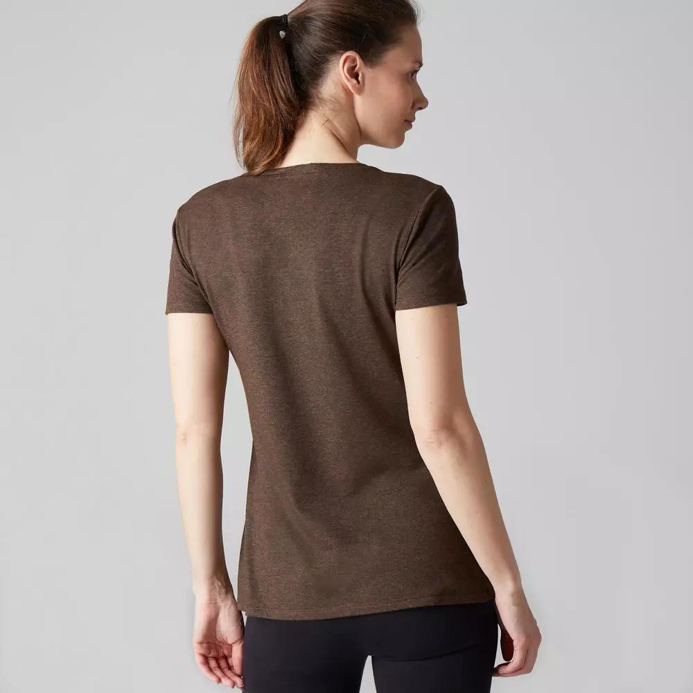 Camiseta 500 Regular Gimnasia Stretching Mujer Caqui Jaspeado Tallas S y M