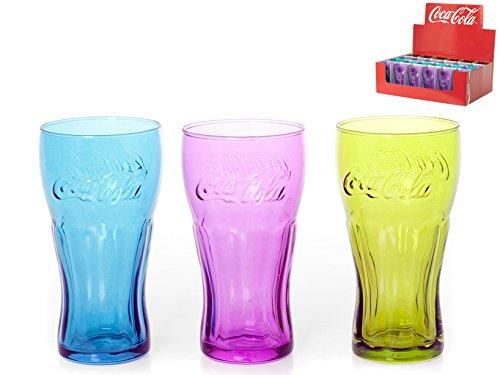 24 vasos Pasabahce Coca Cola Vasos Surtidos, Cristal, 8 x 8 x 15 cm