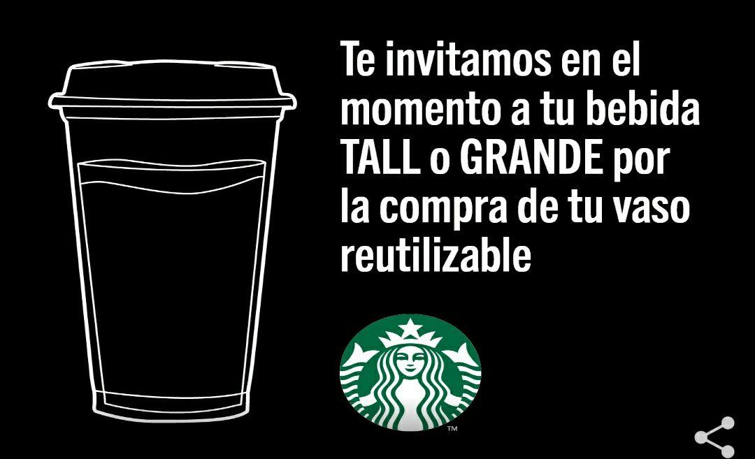 Bebida grande en Starbucks gratis con vaso reutilizable
