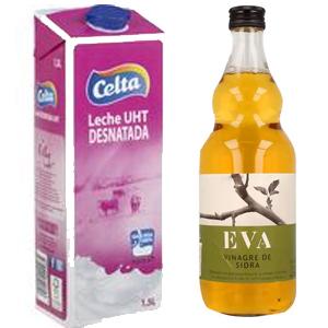 Leche desnatada Celta brik 1,5 L o Vinagre de sidra EVA 750 ml