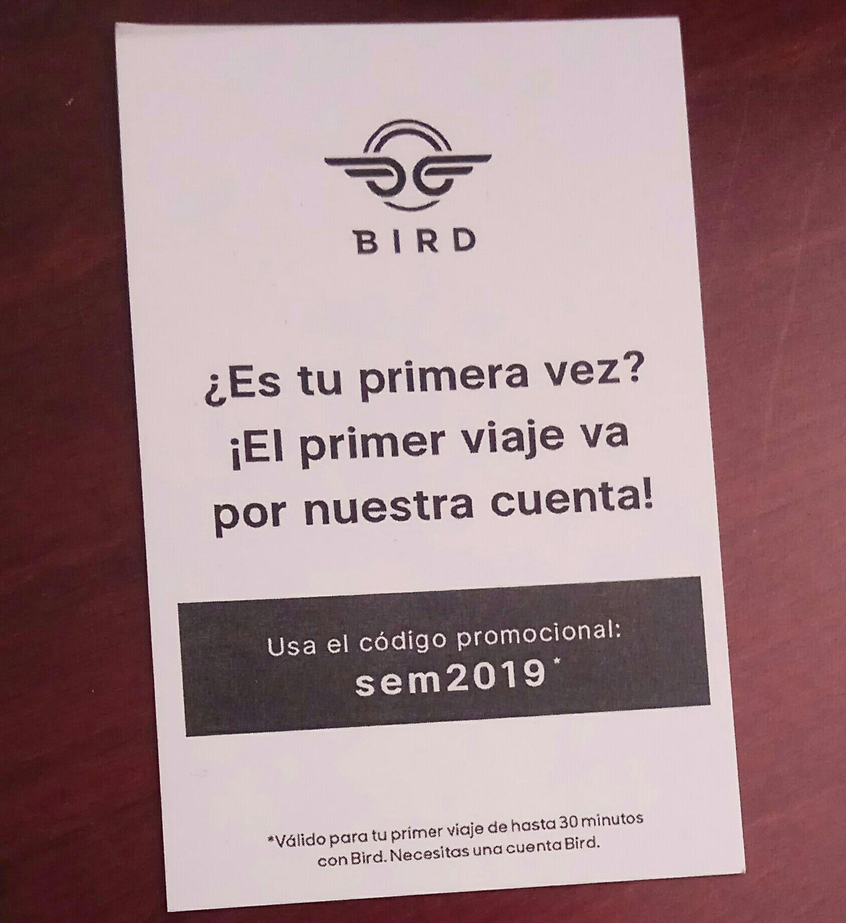30 min gratis patinetes BIRD