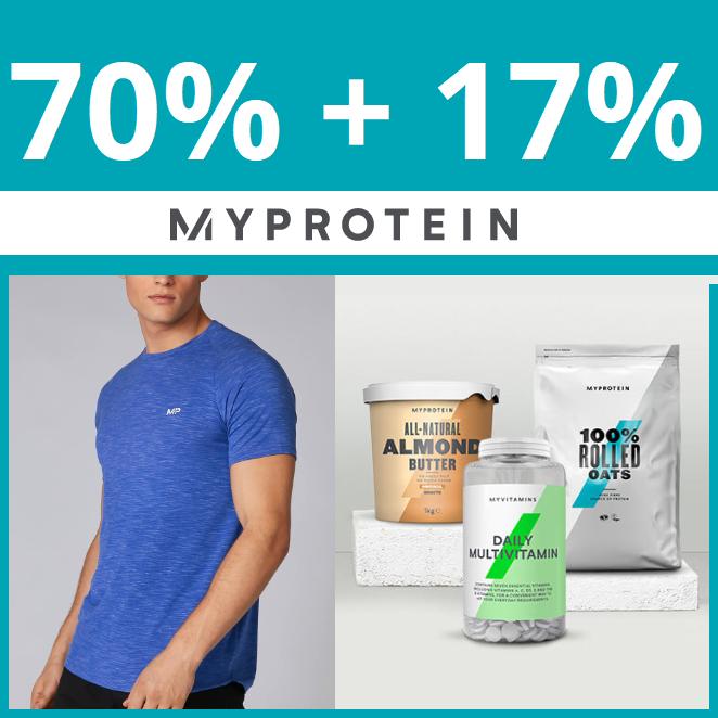 MyProtein. Hasta 70% en TODO + 17% EXTRA (Incluye ROPA de Outlet)
