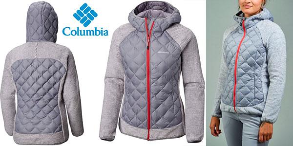Columbia Techy Hybrid para mujer, una chaqueta híbrida gris con forro polar.