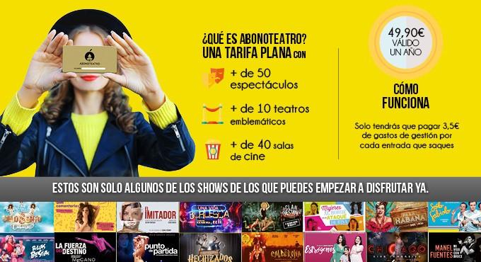 Abono teatro y cines Madrid un año por 10 € (+ gastos de gestión)
