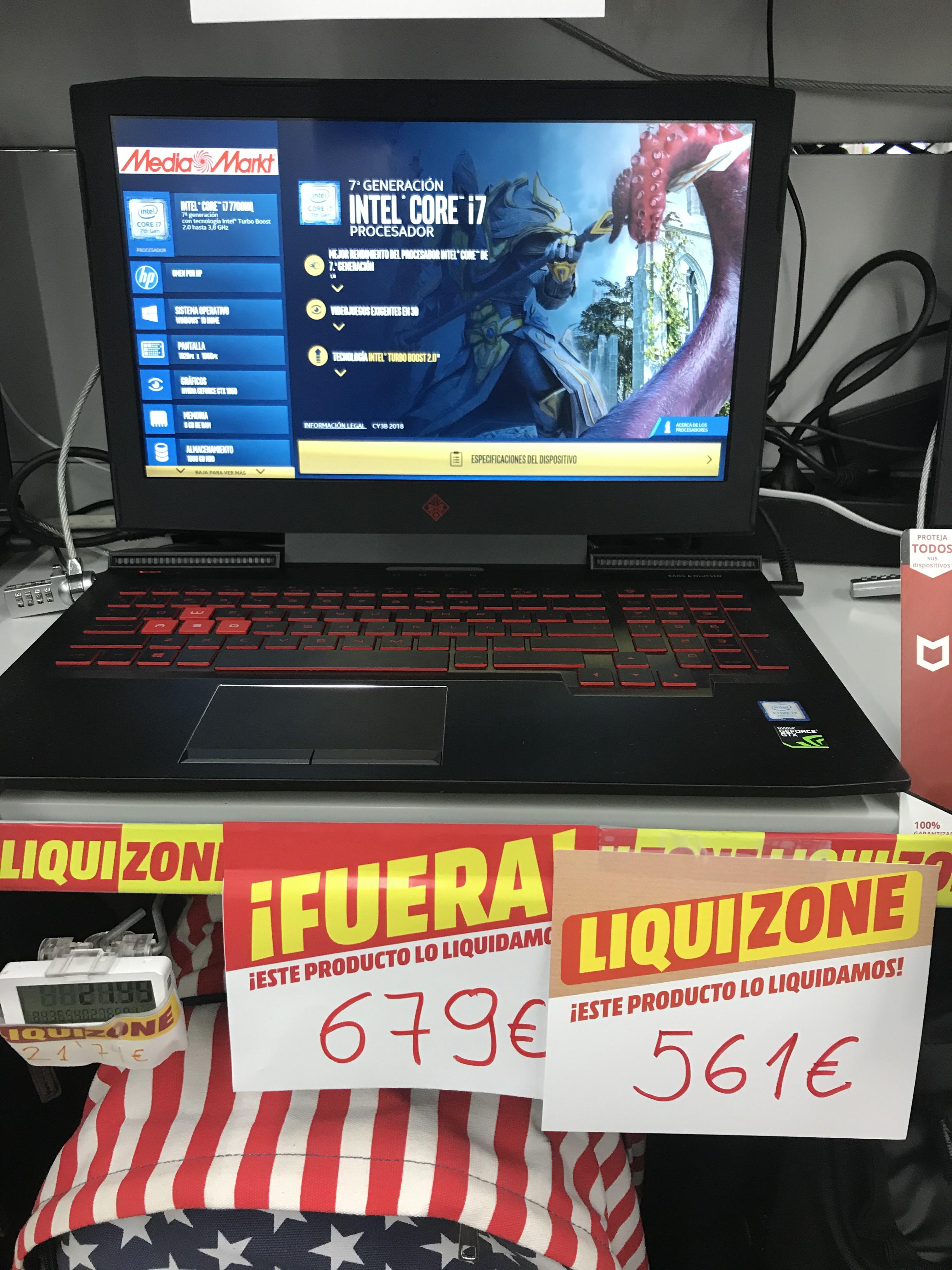 Hp 15-CEO13NS 15 i7-7700HQ/8/1T/gtx 1050-2GB (MediaMarkt Gandía)