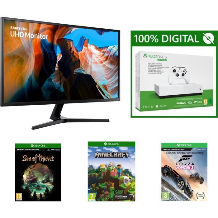 "Xbox One S Consola digital de 1TB + 3juegos + Monitor Samsung 32 ""(4K UHD, VA Slab, 4ms, FreeSync)"