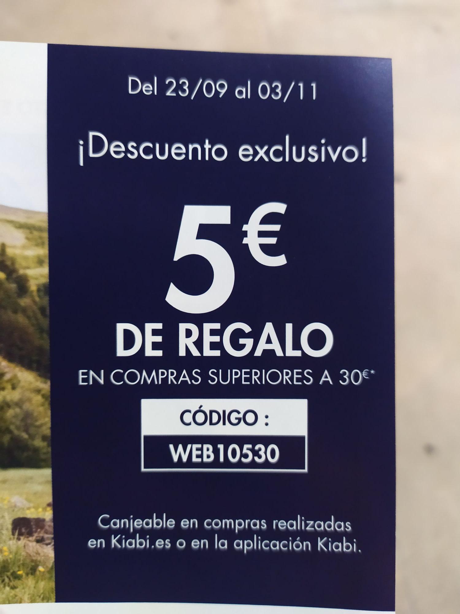 5€ gratis de descuento, mínima compra 30€