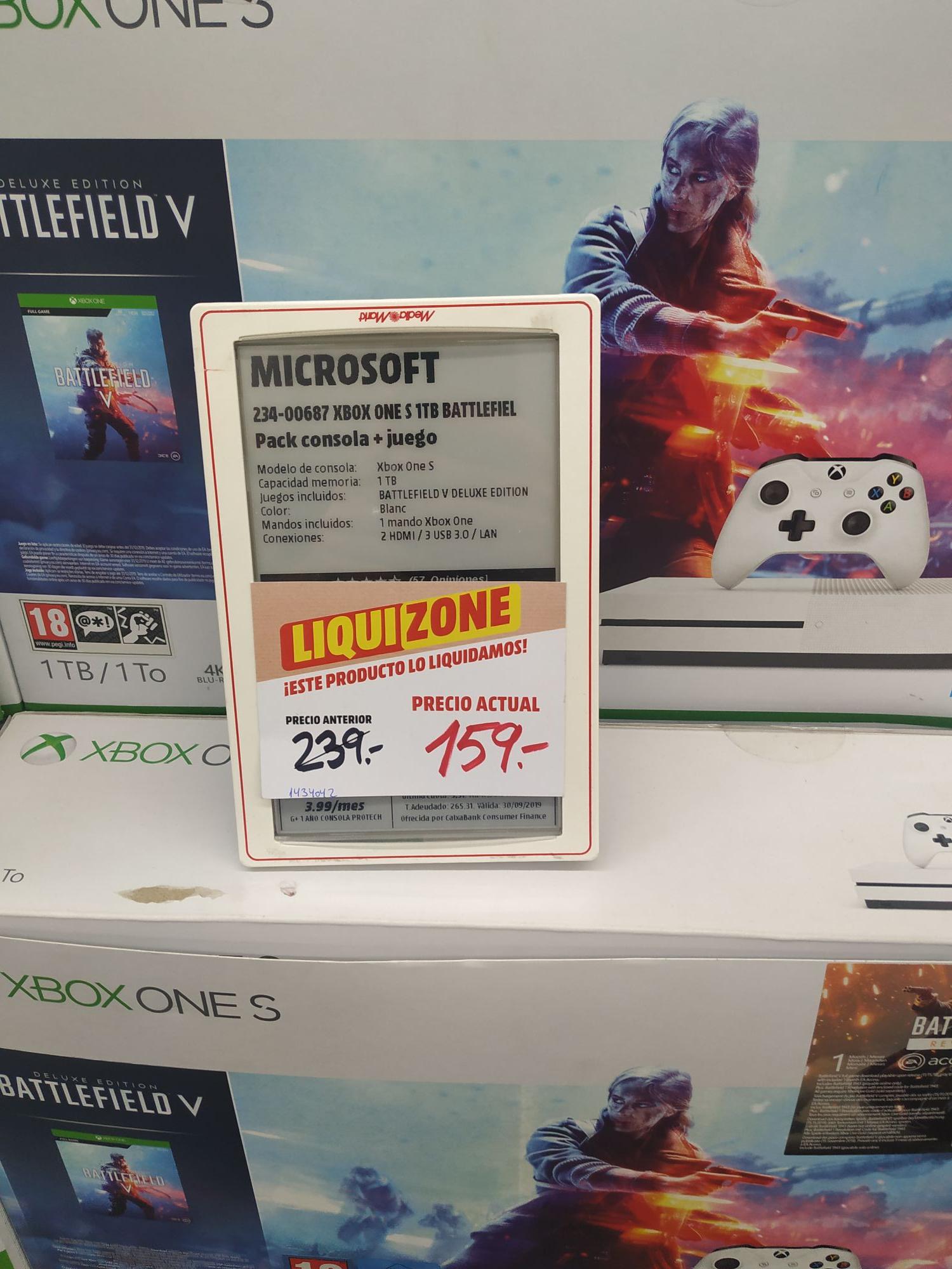 Xbox One S 1tb + Battlefield V Deluxe (Mediamarkt Toledo)