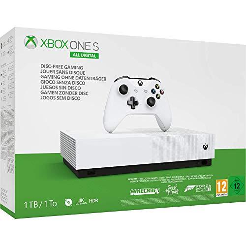 Microsoft Xbox One S All Digital - Consola de 1 TB, + 1 mando blanco ,+3 juegos digitales Forza Horizon 3, Minecraft , Sea of Thieves