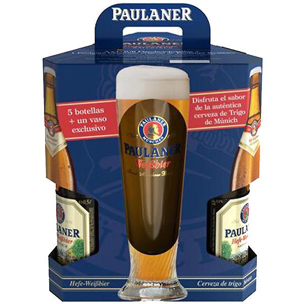PAULANER cerveza rubia de trigo pack 5 botellas 50 cl + Vaso Exclusivo