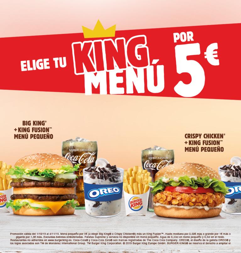 Menú pequeño + King Fusion por 5€ en Burger King
