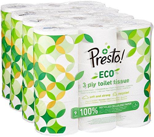 Marca Amazon - Presto! 36x Papel higiénico de 3 capas ECO