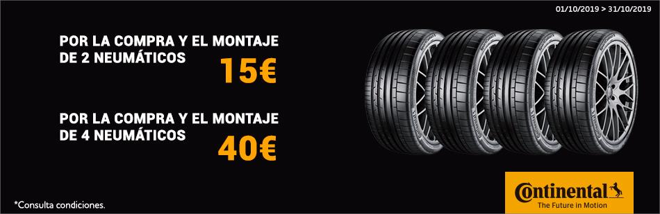 Norauto: Hasta 40€ de carburante con las ruedas Continental