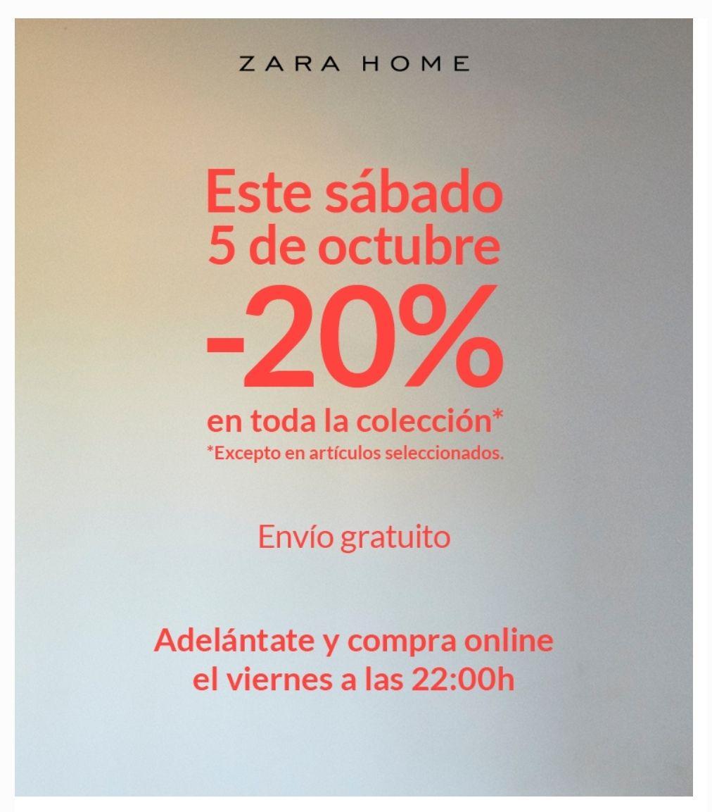El sábado 20% de descuento en Zara Home